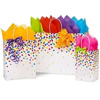 Pack Of 125, Assortment Rainbow Confetti Recycled Shopping Bags 50 Rose, 50 Cub & 25 Vogue Made In Usa