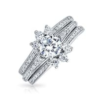 Bling Jewelry Round Pave CZ Engagement Wedding Ring Guard Set 925 Silver