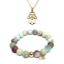 "Julieta Jewelry Set 10mm Green Amazonite Emma 7"" Stretch Bracelet & 18mm Hamsa Hand Charm 16"" 14k Over .925 SS Necklace"