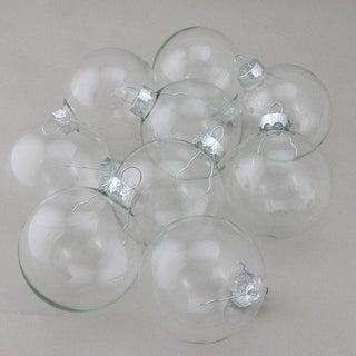 "9-Piece Clear Glass Ball Christmas Ornament Set 2.5"" (65mm)"