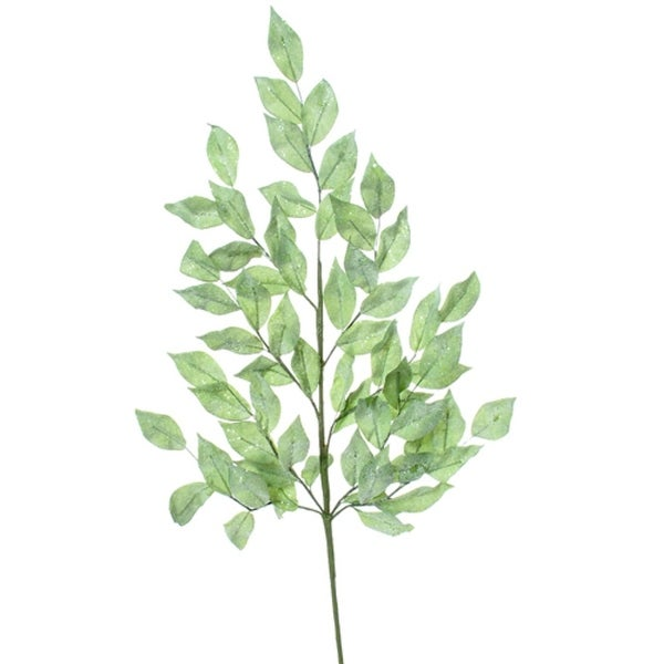 "28"" Winter Frost Glittered Green Laurel Leaf Christmas Spray"