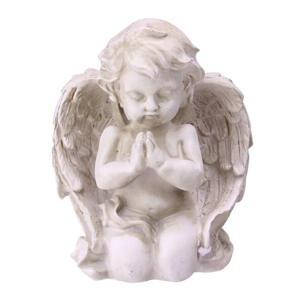 """6"""" Heavenly Gardens Distressed Almond Brown Praying Cherub Angel Outdoor Patio Garden Statue - N/A"""