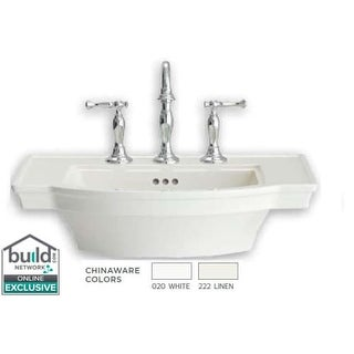 """American Standard 900.004 Estate 24"""" Pedestal Bathroom Sink Only with 3 Holes Drilled (4"""" Centers) and Overflow (2 options available)"""