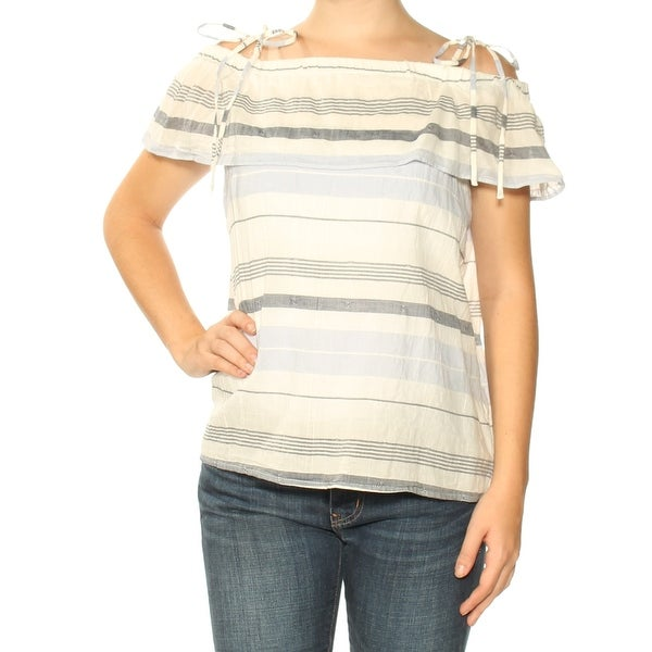 6c6eefc9f1c19 Shop VINCE CAMUTO Womens Ivory Cold Shoulder Striped Short Sleeve Off  Shoulder Top Size  XS - Free Shipping On Orders Over  45 - Overstock.com -  24148921