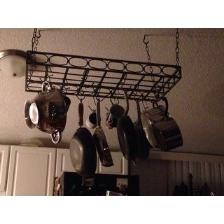 Metal Rectangular 16-hook Pot Rack