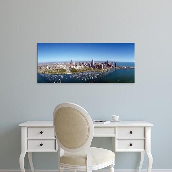 Easy Art Prints Panoramic Images's 'Chicago Harbor, City Skyline, Illinois' Premium Canvas Art