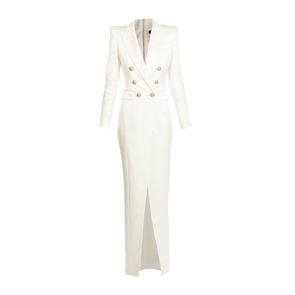 BALMAIN Womens Ivory Breasted Blazer Dress 40