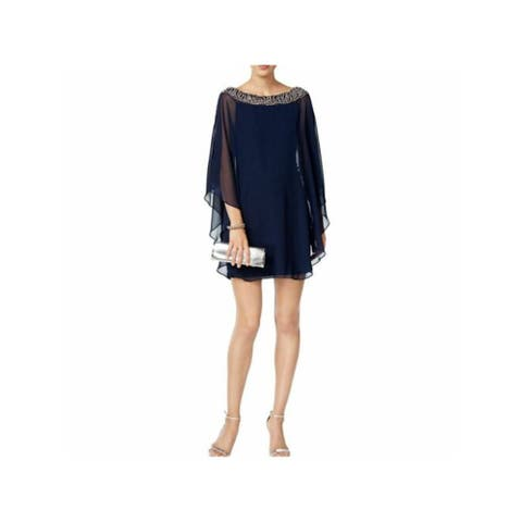 XSCAPE Womens Navy Long Sleeve Short Shift Cocktail Dress Size 8P