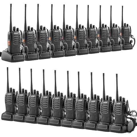 20pcs/10pair BF-888S 5W 400-470MHz Handheld Walkie Talkie Black