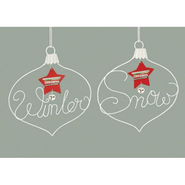 "Pack of 6 Assorted ""Winter"" and ""Snow"" Wire Plaque Christmas Ornaments 11"" - WHITE"