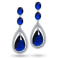 Bling Jewelry Blue CZ Teardrop Earrings Rhodium Plated Brass
