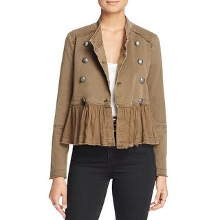 Free People Womens Military Jacket Peplum Fringe