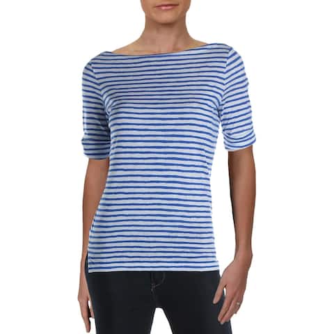 Lauren Ralph Lauren Womens Daxton T-Shirt Linen Blend Striped - Multi