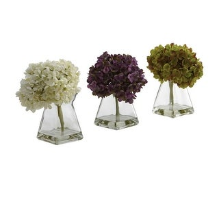 Nearly Natural Hydrangea with Vase Arrangement - Set of 3