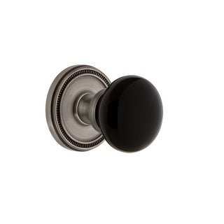"""Grandeur SOLCOV_PSG_234  Soleil Solid Brass Rose Passage Door Knob Set with Coventry Knob and 2-3/4"""" Backset"""