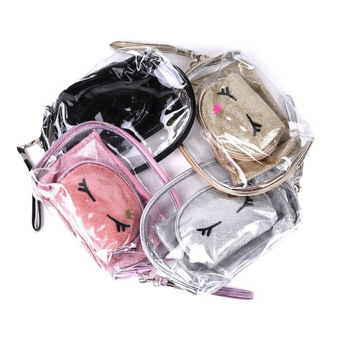 Women's Clear & Solid 3pc Makeup Cosmetic & Toiletry Travel Bag