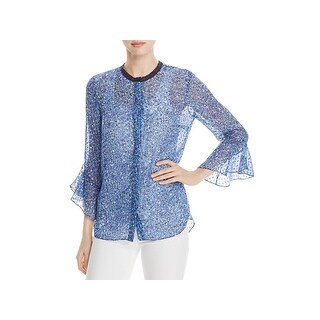 Elie Tahari Womens Ruby Button-Down Top Printed Silk