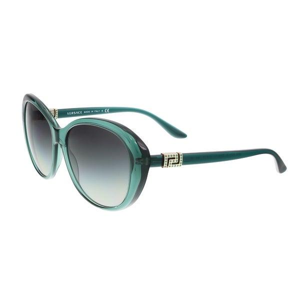 Versace VE4324B 521611 Transparent Green Oval  Greek Key Chic Sunglasses - 57-16-140