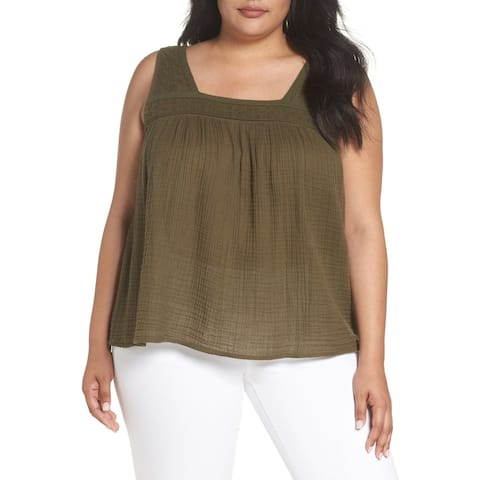 Caslon Womens Tank Top Olive Green Size 3X Plus Embroidered Neck Swing