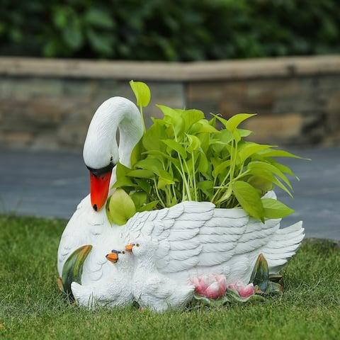 Resin White Swan Planter