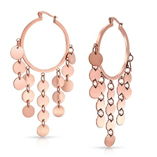 Bling Jewelry Steel Cascade Chandelier Rose Gold Plated Hoop Earrings - Pink