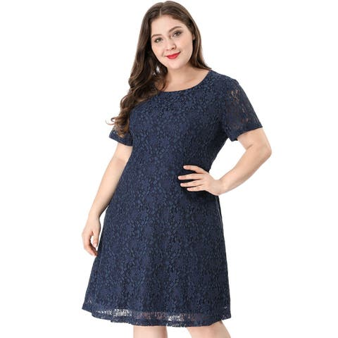 Women's Plus Size A Line Choker Short Sleeve Open Back Lace Dress - Navy Blue