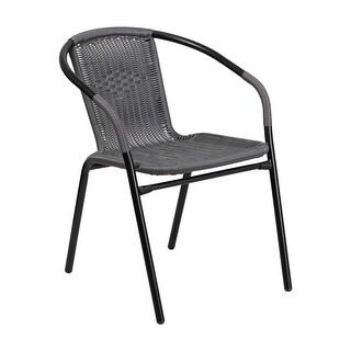 Offex Gray Rattan Indoor-Outdoor Restaurant Stack Chair