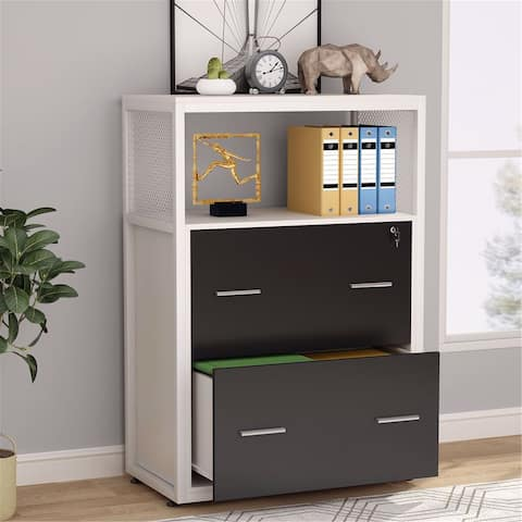 Large Modern Filing Cabinet 2-Drawers Lateral File Cabinet with Lock