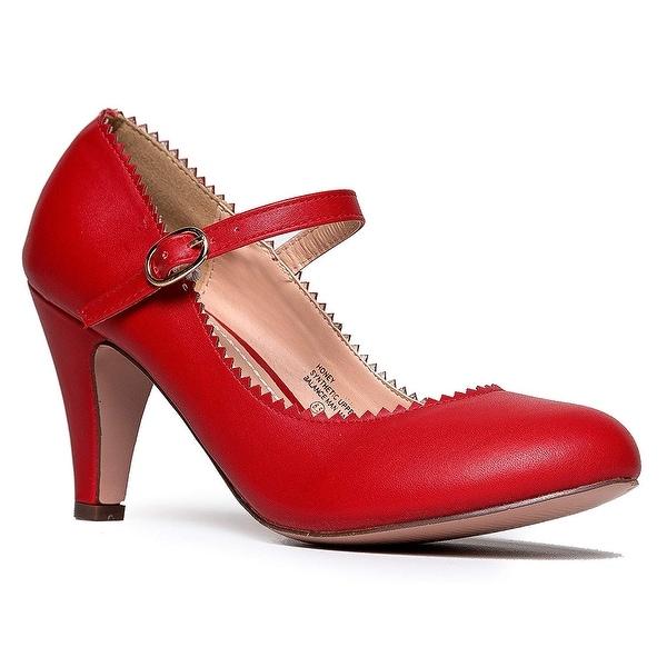 ba1ac966f590 J. Adams Mary Jane Kitten Heels - Vintage Retro Scallop Round Toe Shoe with  a