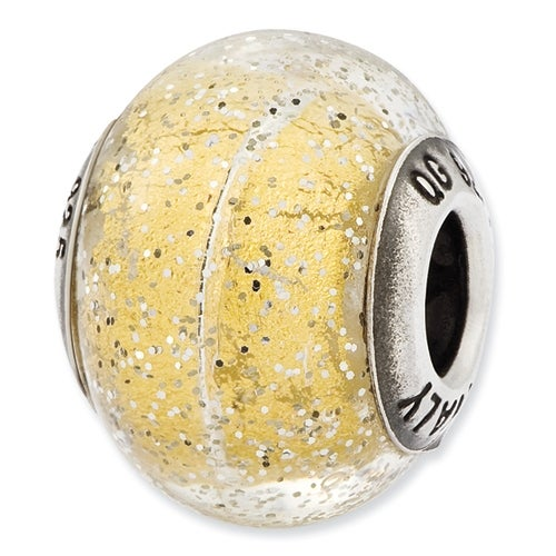 Italian Sterling Silver Reflections Light Yellow with Silver Glitter Glass Bead