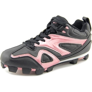 Acacia Base Hit Women A Round Toe Leather Black Cleats