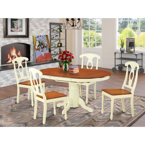 KENL5-WHI-W 5-PC Dining room set - Oval Dining Table and 4 Dining Chairs - Buttermilk and Cherry Finish