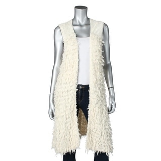 Free People Womens Rolling Stone Faux Fur Open Front Casual Vest