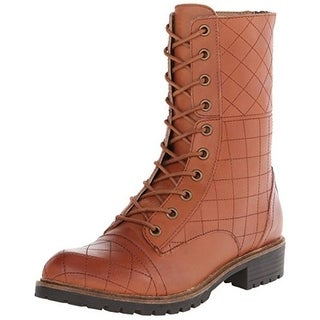 Kensie Womens Steva Combat Boots Leather Quilted