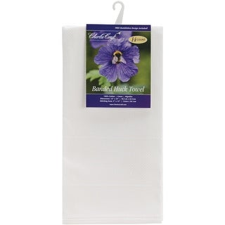 """Banded Huck Towel 14 Count 15""""X25""""-White"""