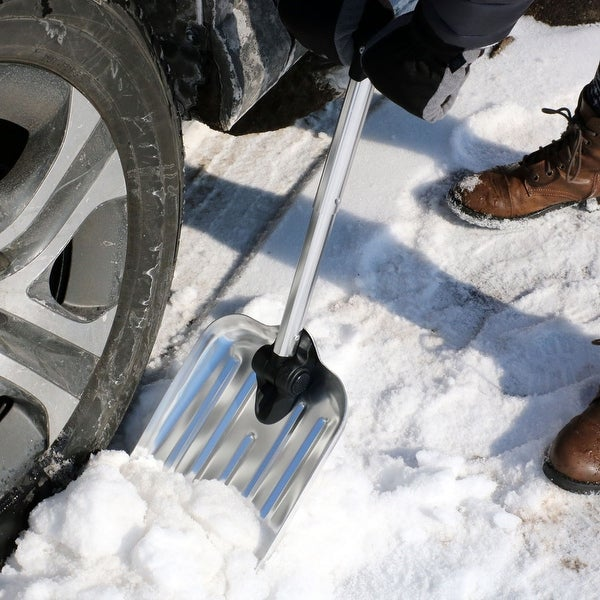 CASL Brands Automotive Folding Snow Shovel with 8-Inch Blade and Bag - Silver
