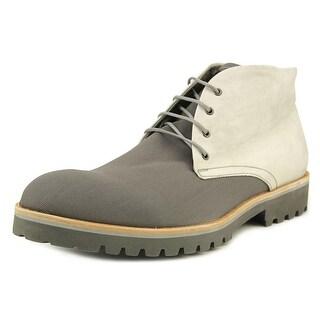 Emporio Armani Sabbia Men Round Toe Canvas Gray Ankle Boot