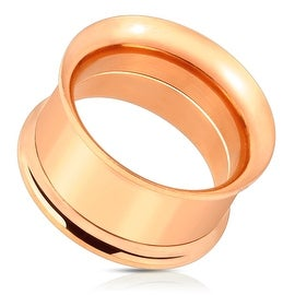 Rose Gold IP 316L Surgical Steel Double Flared Screw-Fit Tunnel (Sold Individually) (More options available)