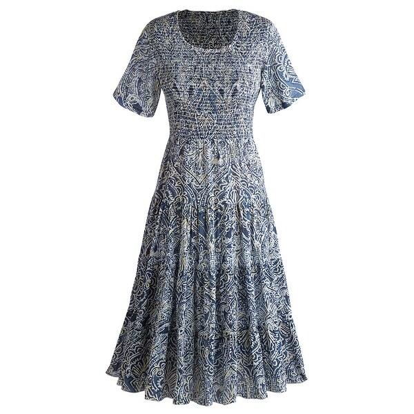 Women's Mid-Length Indigo Batik Dress