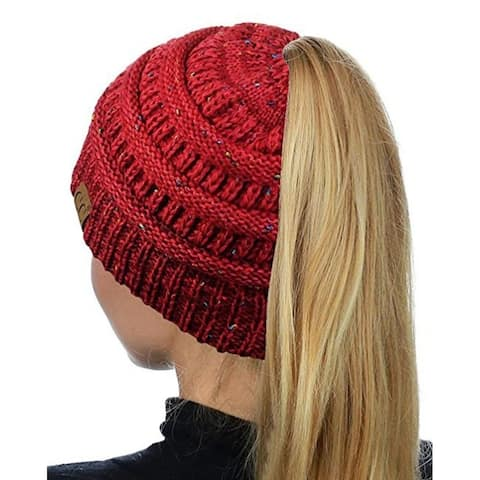 Ponytail Messy Bun Beanie Tail in Confetti Red