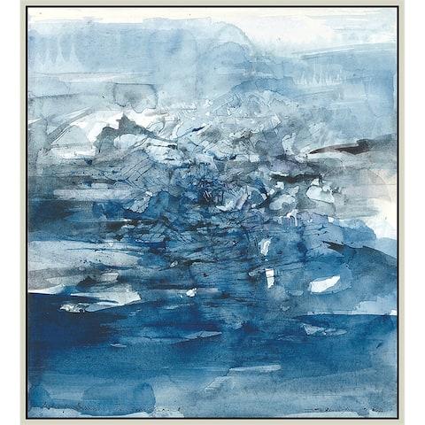 "Blues by Zao Wou-Ki Giclee Print Oil Painting Silver Frame Size 16"" x 18"""