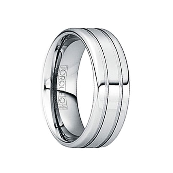 IANUARIUS Polished Tungsten Wedding Band with Brushed Dual Grooves by Crown Ring