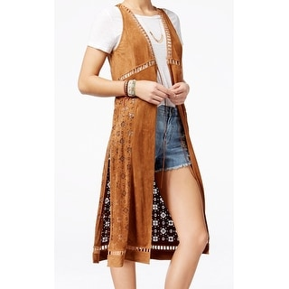 American Rag NEW Brown Women's Size Large L Faux Suede Vest Sweater