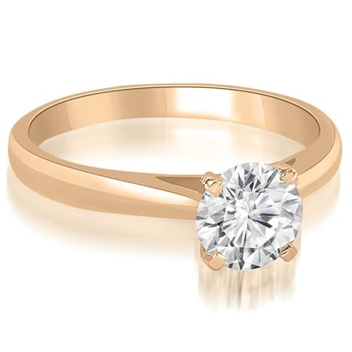 1.00 cttw. 14K Rose Gold Cathedral Solitaire Round Cut Diamond Engagement Ring