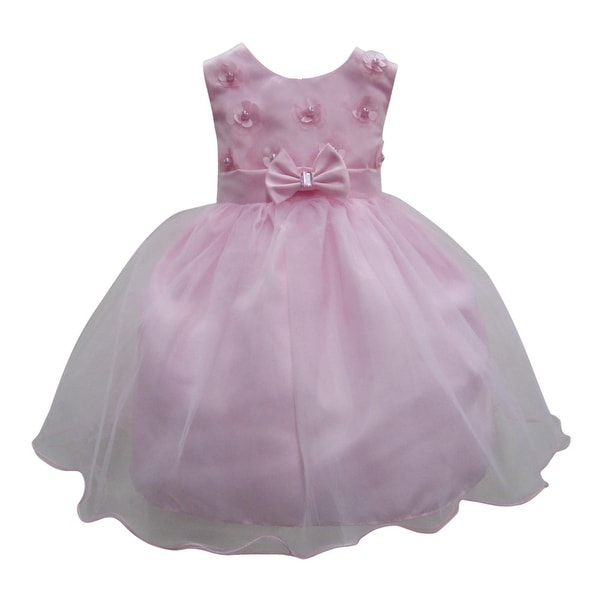 b930d0672b0 Shop Baby Girls Pink Beaded Floral Applique Bow Flared Flower Girl Dress 6- 24M - Free Shipping On Orders Over  45 - Overstock - 21157075