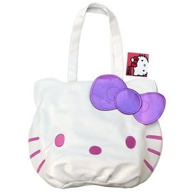 Hello Kitty White & Pink Face Tote Bag w/ Purple Bow