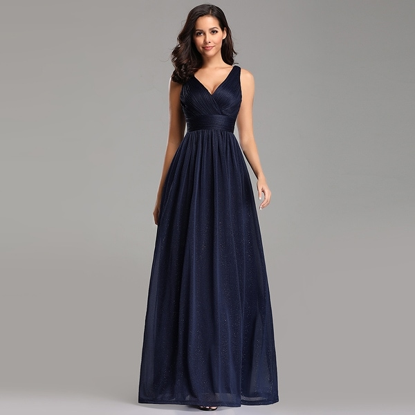 Ever-Pretty Womens Ruched Navy Blue Long Evening Prom Party Bridesmaid Dress 07764