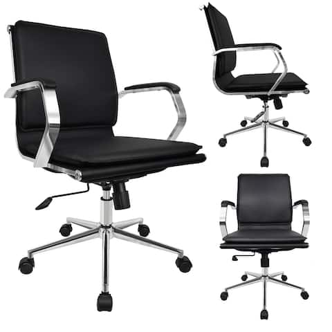 Office Chair with Cushion Mid Back Seat with Arms Executive with Wheels Chrome Swivel Boss Tilt Home Conference Room