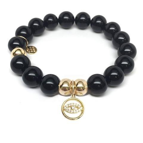 Julieta Jewelry Lucky Eye Charm Black Onyx Bracelet