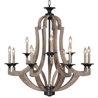 Craftmade 35112 Winton Two Tier 12 Light Candle Style Chandelier - 36 Inches Wide - weathered pine